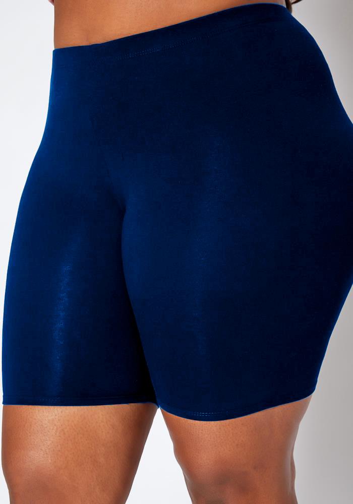 Plus Size Skinny Solid High Waist Swim Shorts