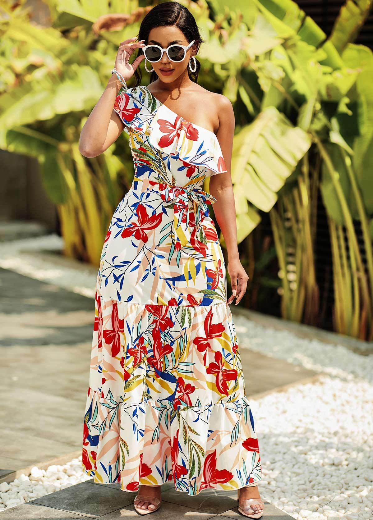 One Shoulder Flounce Floral Print Dress