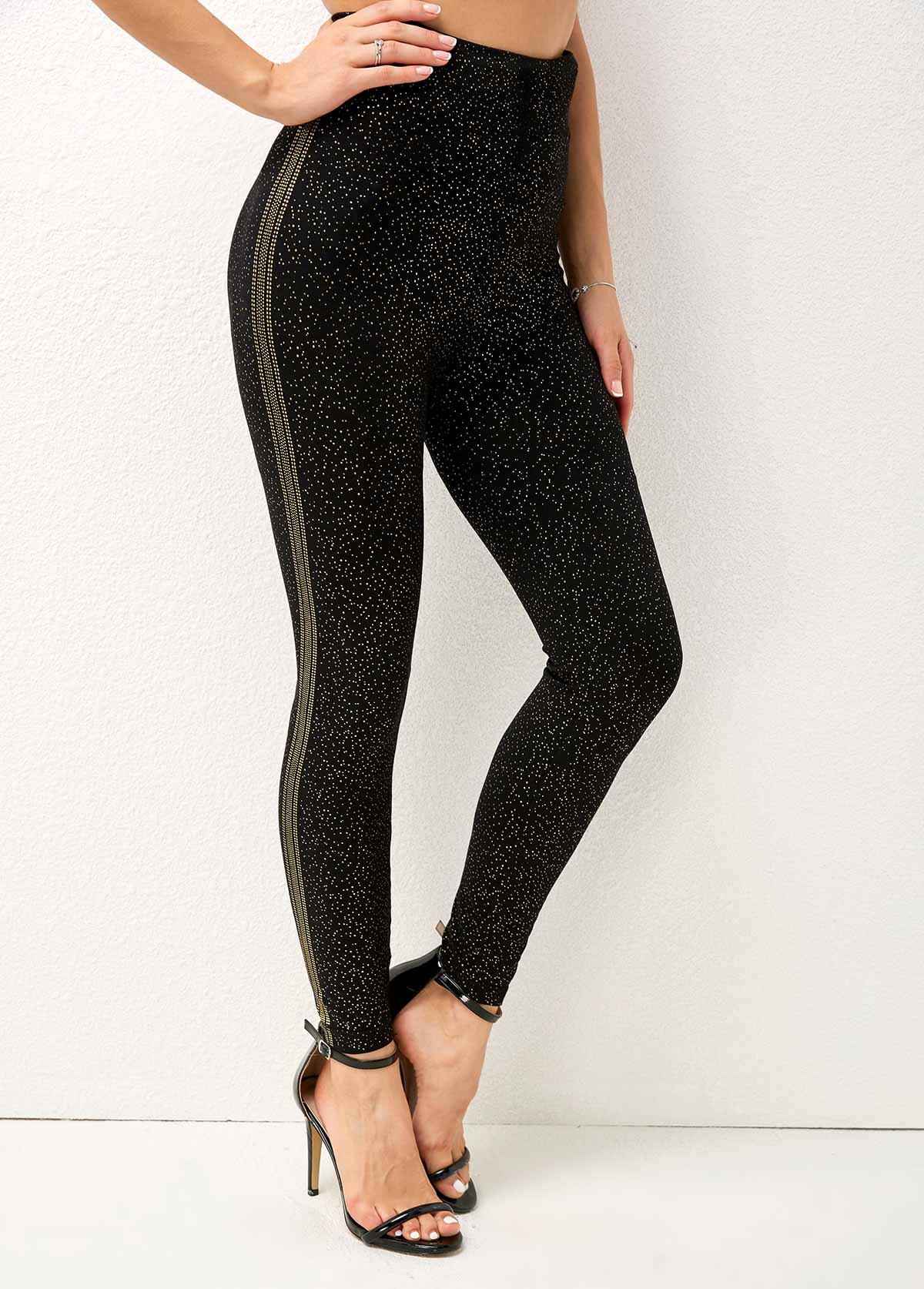 High Waist Hot Stamping Dot Skinny Pants