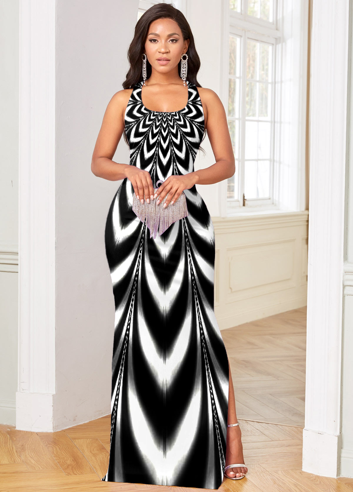 Ombre Side Slit Sleeveless Maxi Dress