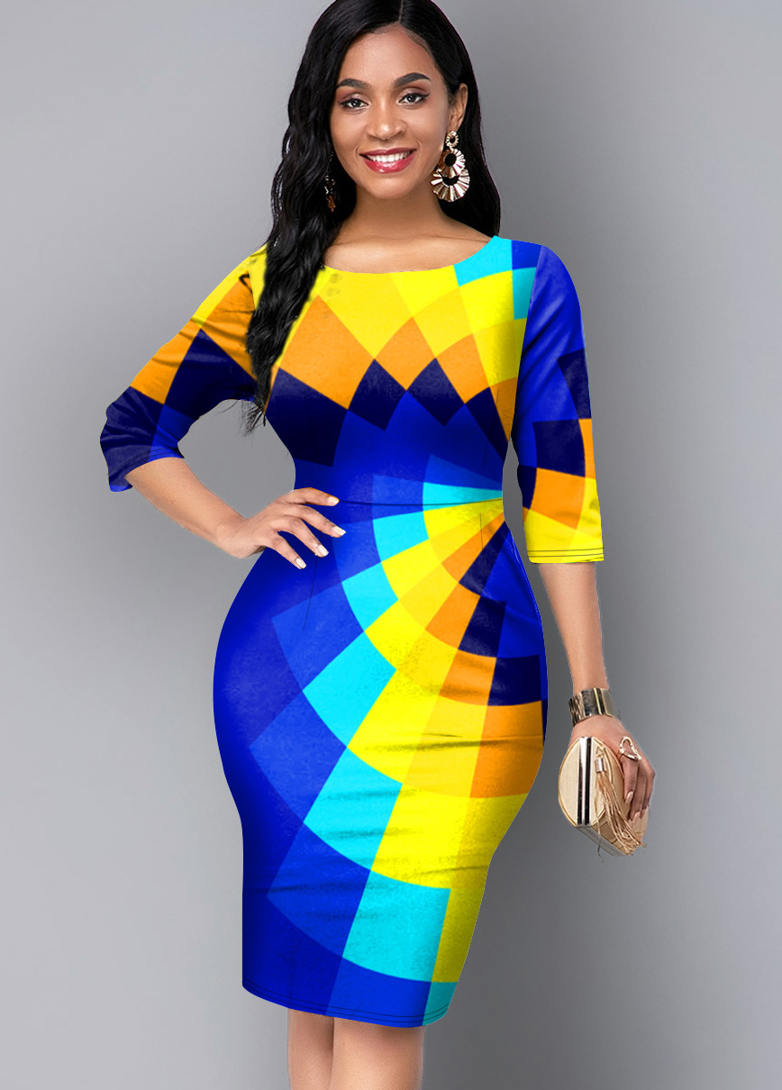 3/4 Sleeve Round Neck Geometric Print Dress
