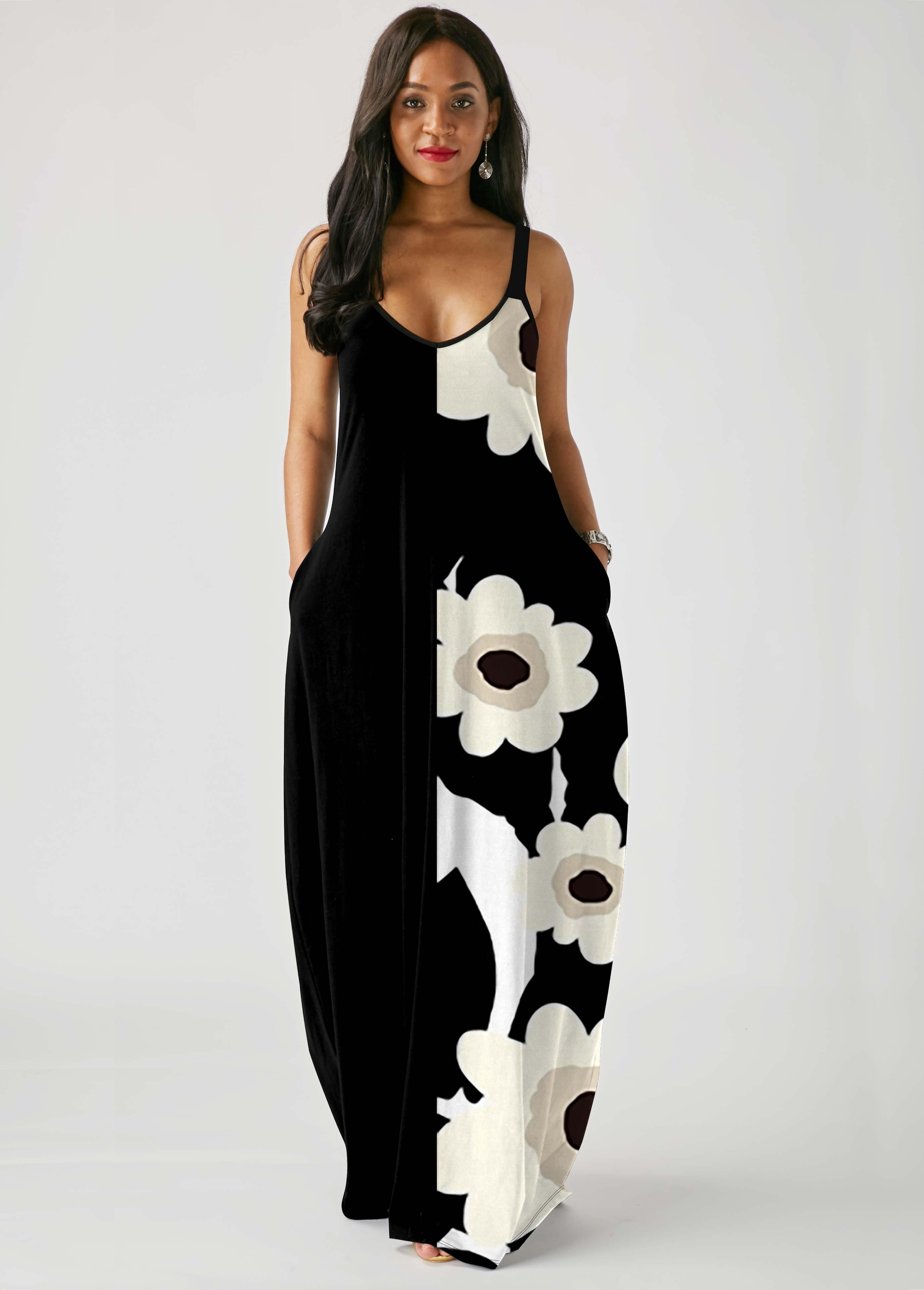 Floral Print Spaghetti Strap Pocket Dress