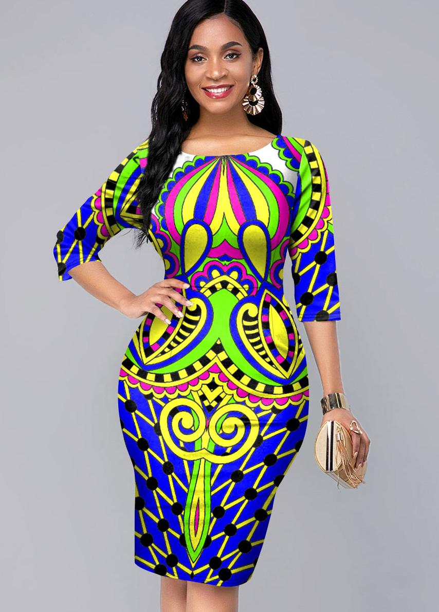 Tribal Print 3/4 Sleeve Round Neck Dress