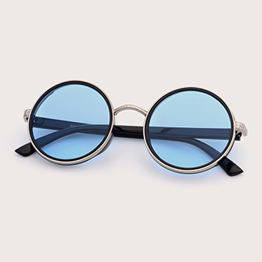 1 Pair Blue Round Frame TR and Metal Sunglasses