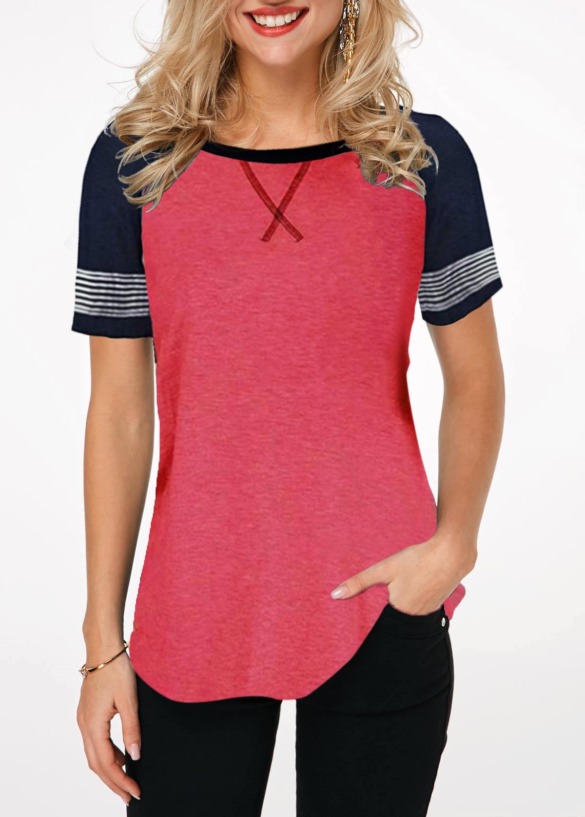 Contrast Round Neck Short Sleeve T Shirt
