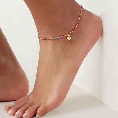 Colorful Beads Shell Detail Metal Anklet