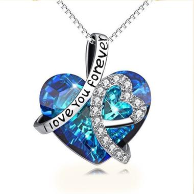 Heart Rhinestone Design Letter Detail Necklace
