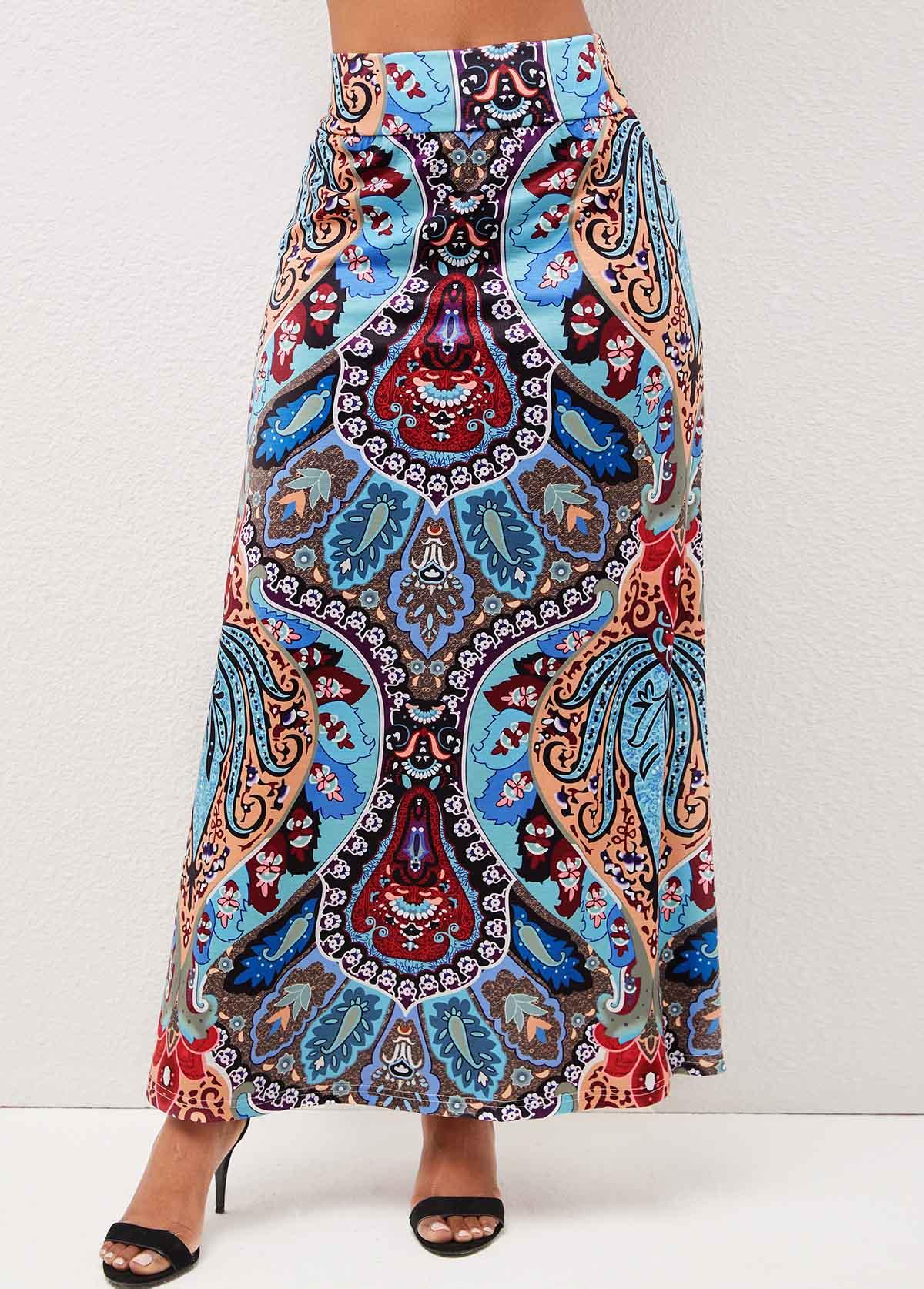 Tribal Print High Waist Multi Color Skirt