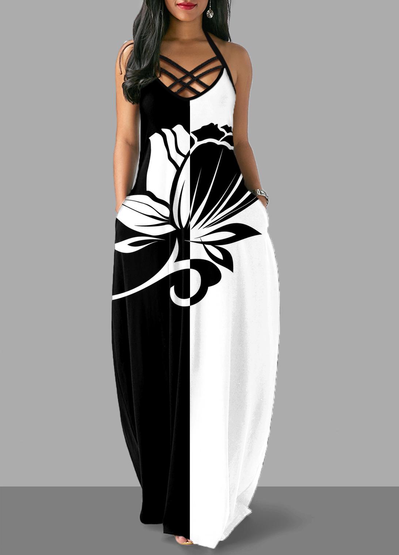 Floral Print Halter Criss Cross Back Dress