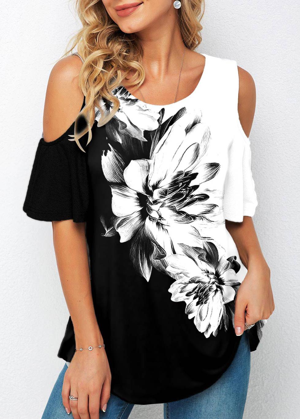 Floral Print Cold Shoulder Half Sleeve T Shirt
