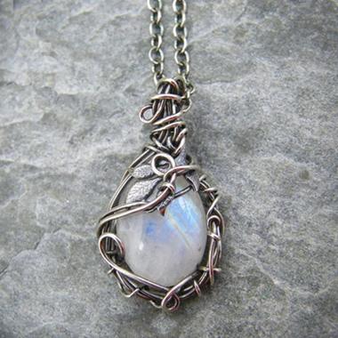 Moonstone Pendant Metal Detail Silver Necklace