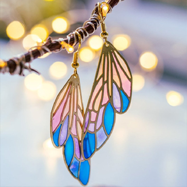 Rainbow Color Butterfly Wings Design Earring Set