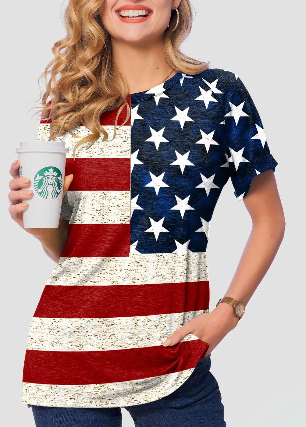 American Flag Print Short Sleeve Round Neck T Shirt
