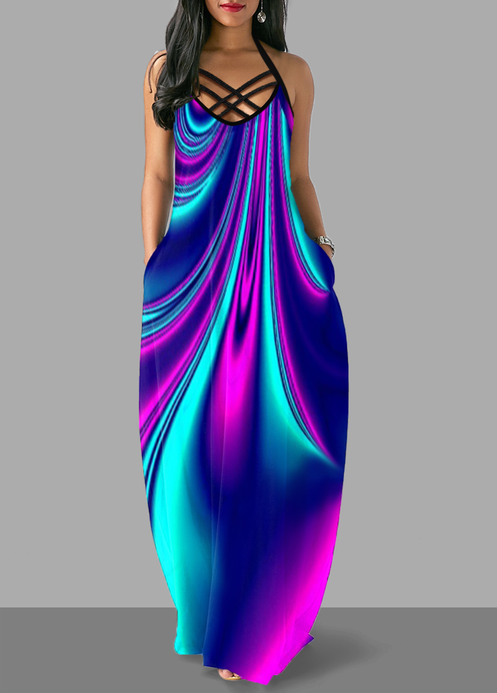 Colorful Pocket Cross Strap Maxi Dress