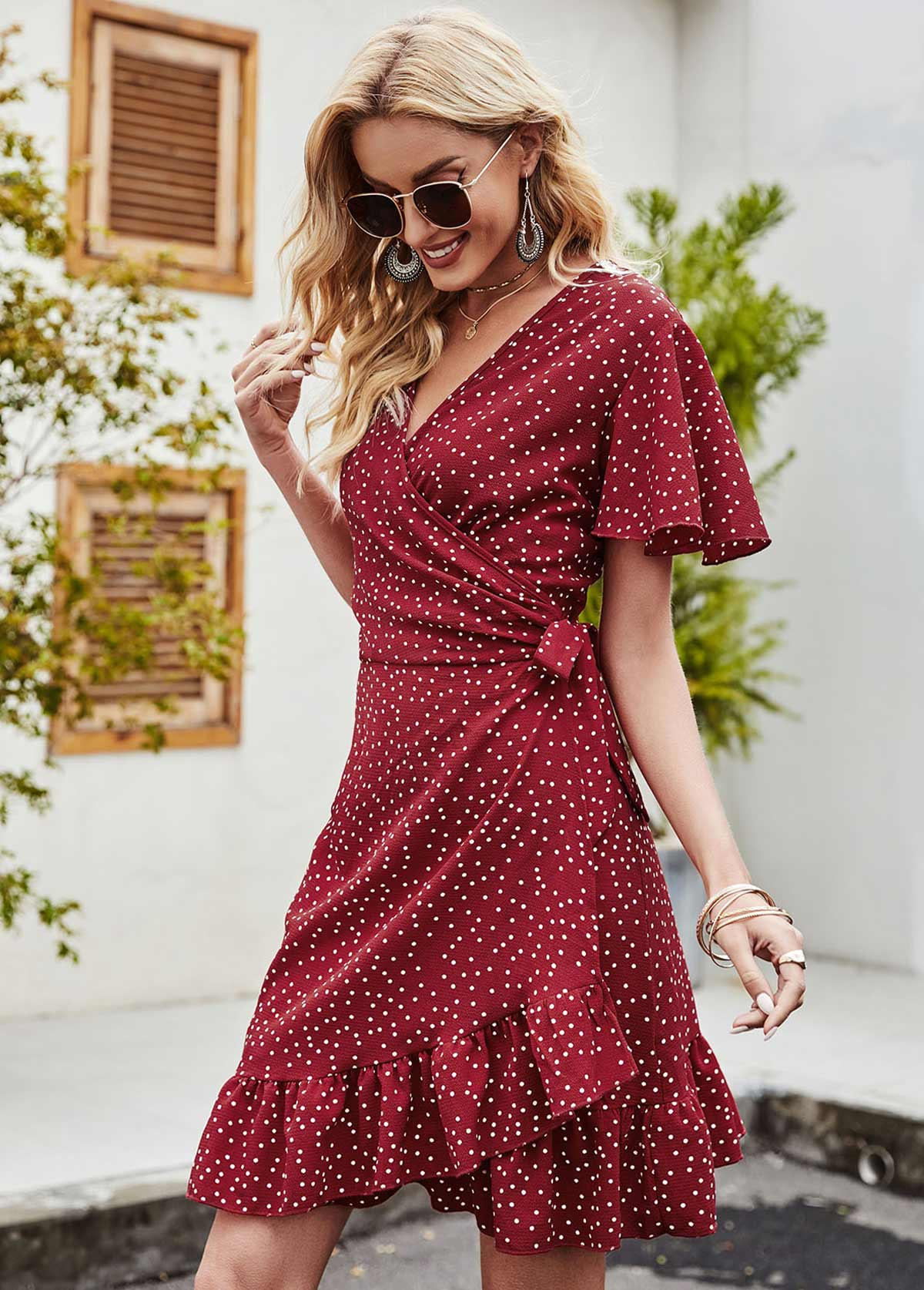 Polka Dot V Neck Short Sleeve Dress