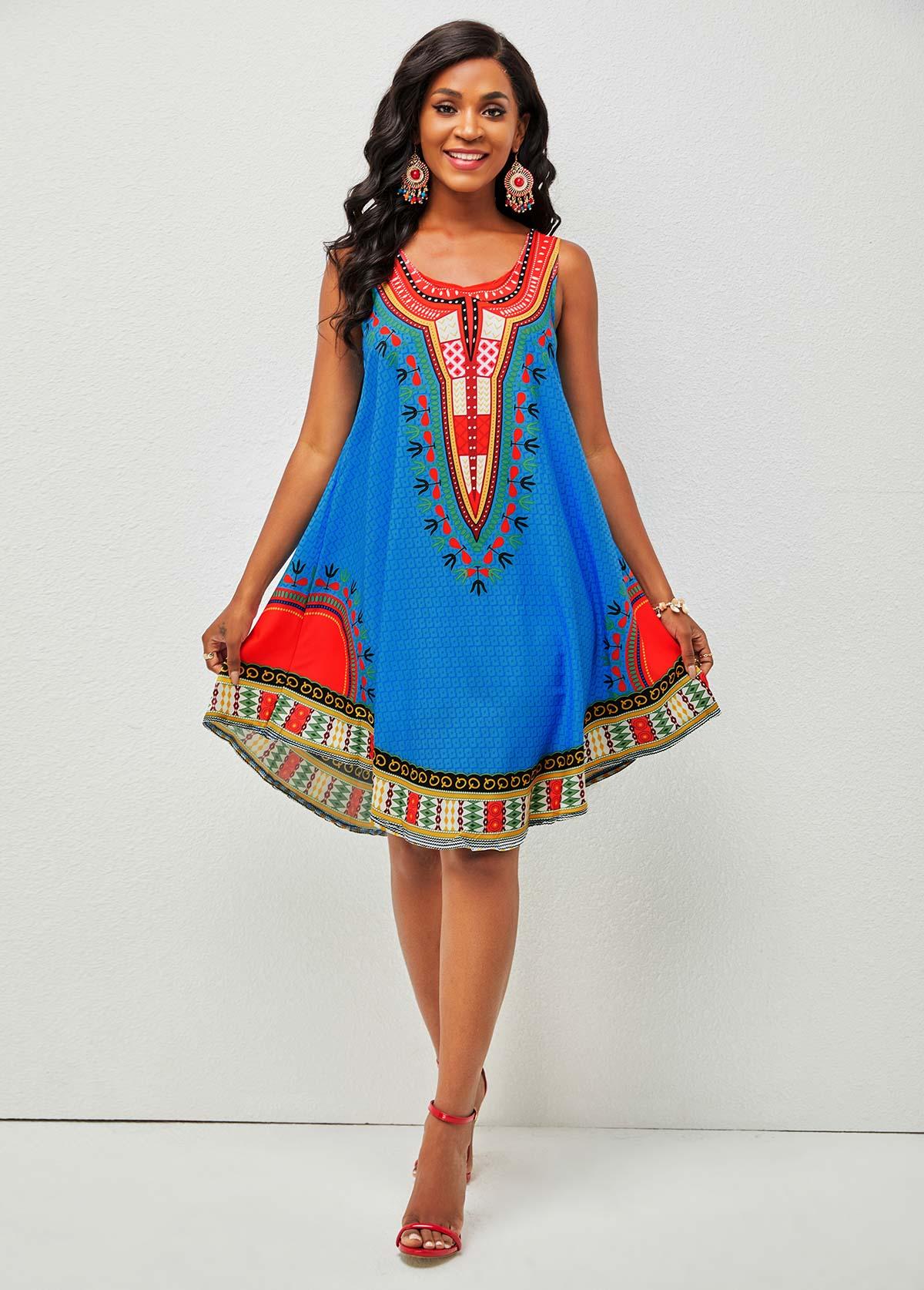Tribal Print Round Neck Wide Strap Dress