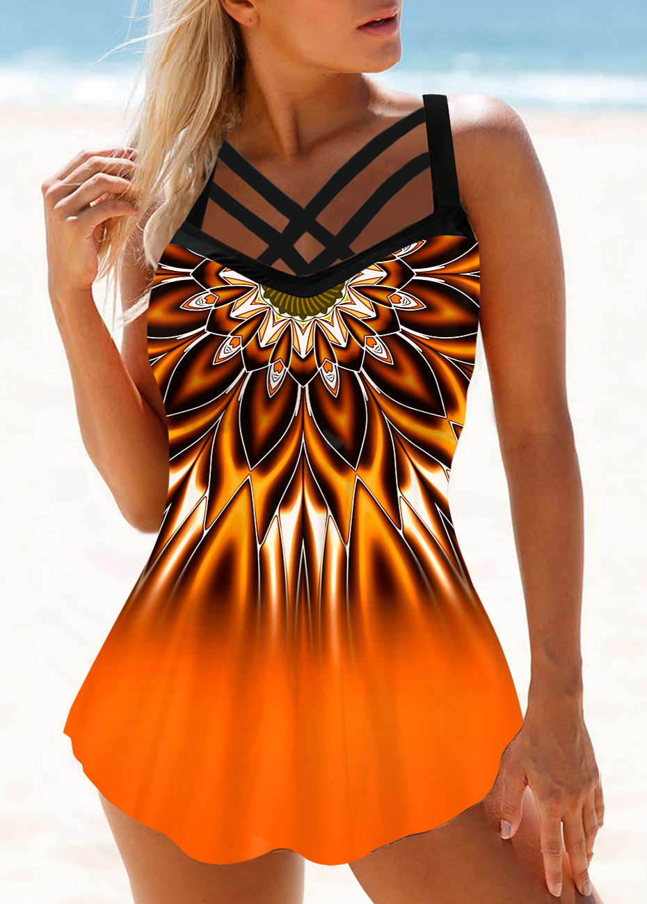 Tribal Print Cross Strap Ombre Swimdress and Panty