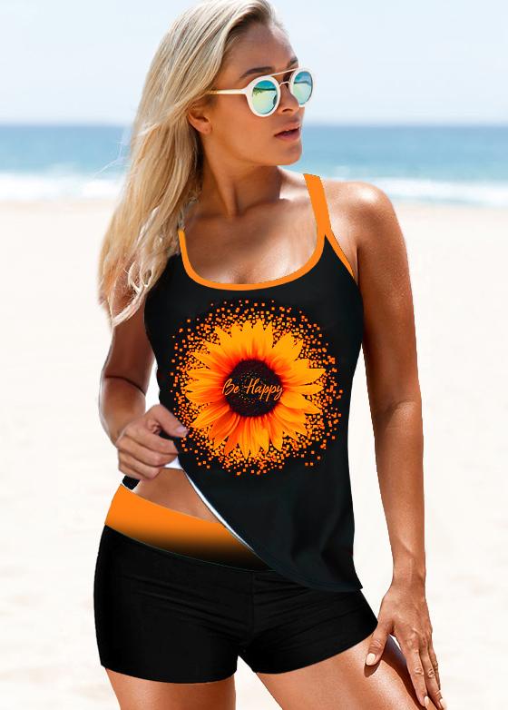 Sunflower Print Cross Strap Mid Waist Tankini Set