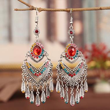 Tribal Design Rhinestone Detail Tassel Earring Set