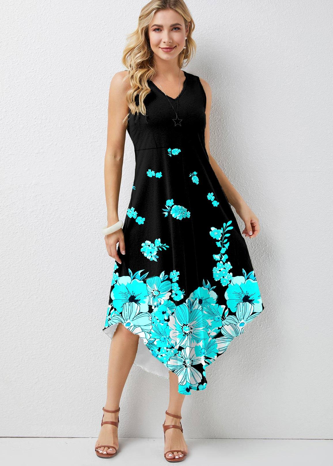 Ombre Floral Print V Neck Dress