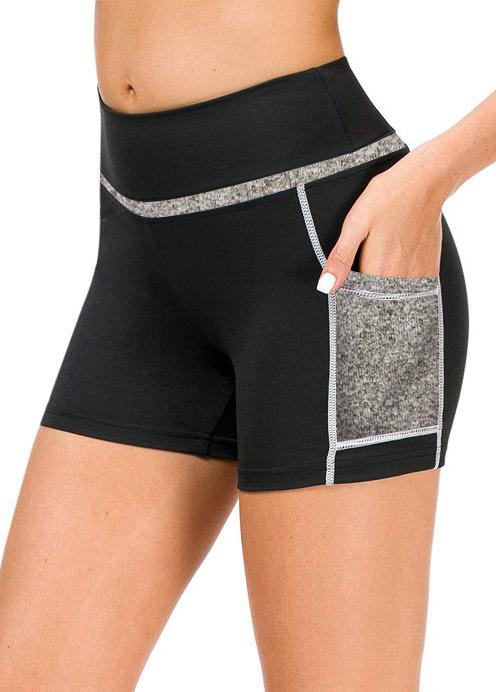 Patchwork Pocket Mid Waist Sports Bottom