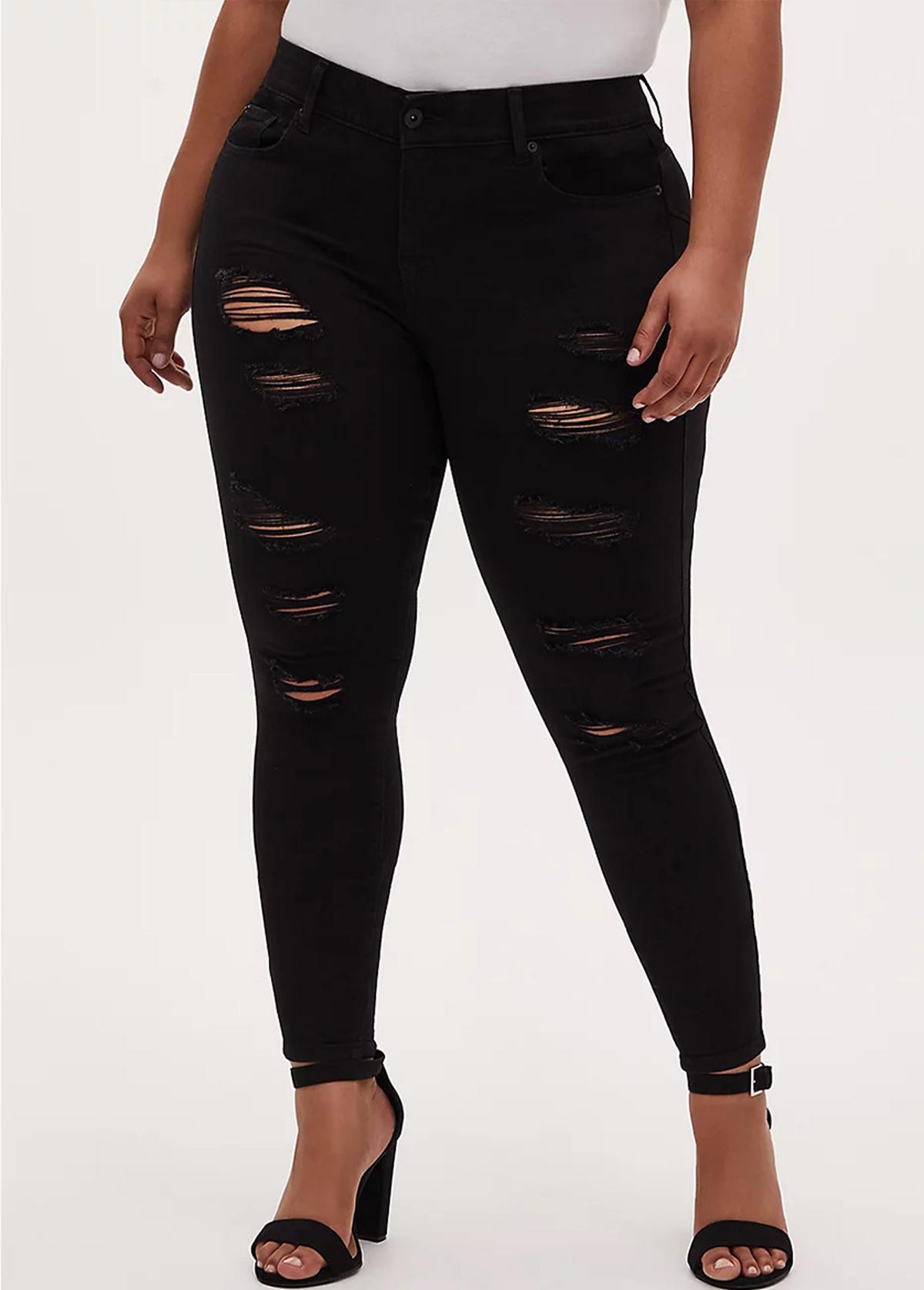 Shredded Skinny Plus Size Black Jeans