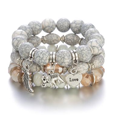Layered Elephant Design Acrylic Detail Bracelets