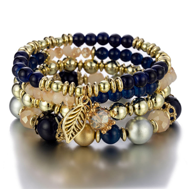 Leaf Design Navy Blue Bracelets for Women