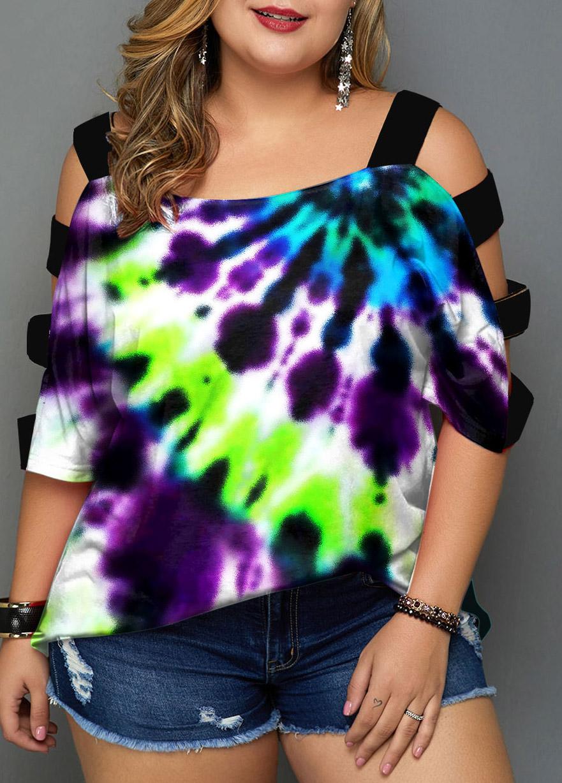 Plus Size Tie Dye Print Colorful T Shirt