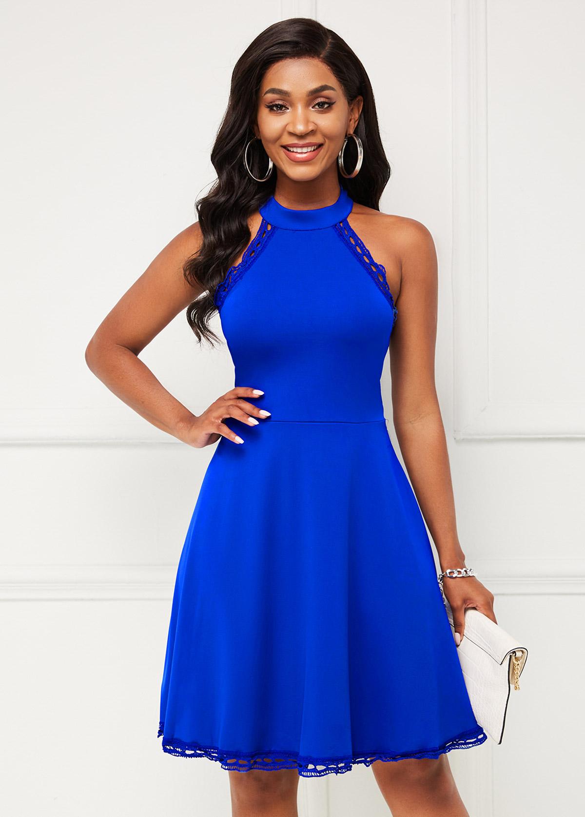 Bib Neck Sleeveless Lace Stitching Dress