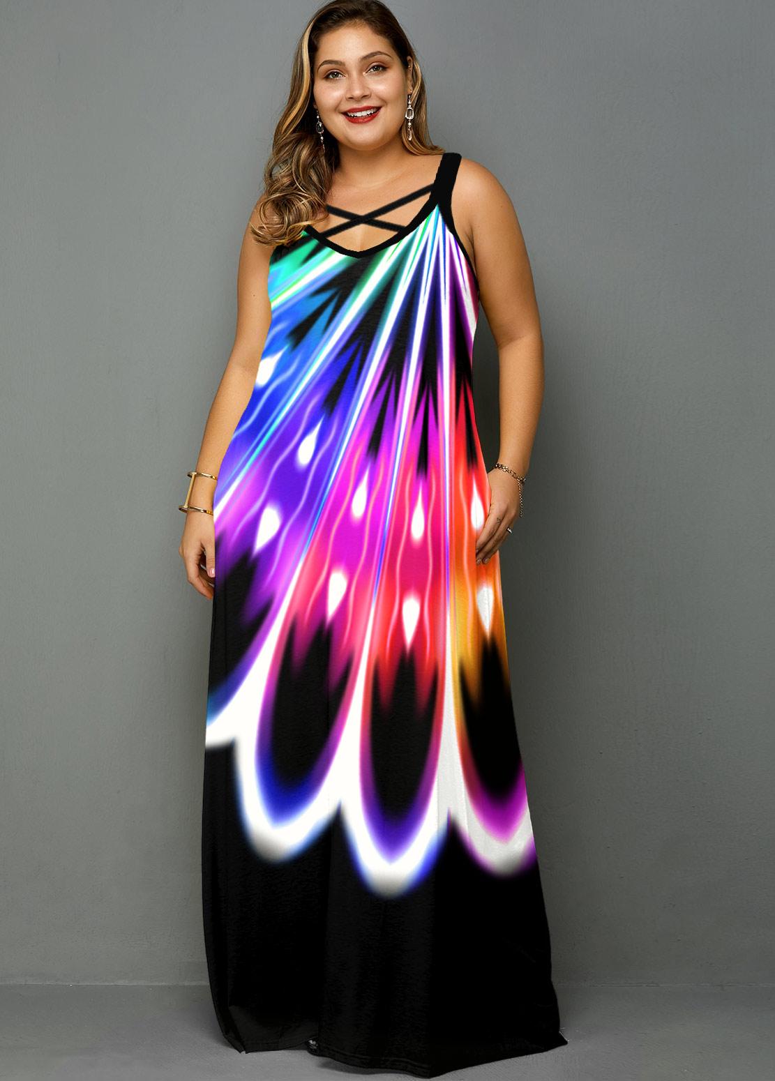 Plus Size Rainbow Color Pocket Dress