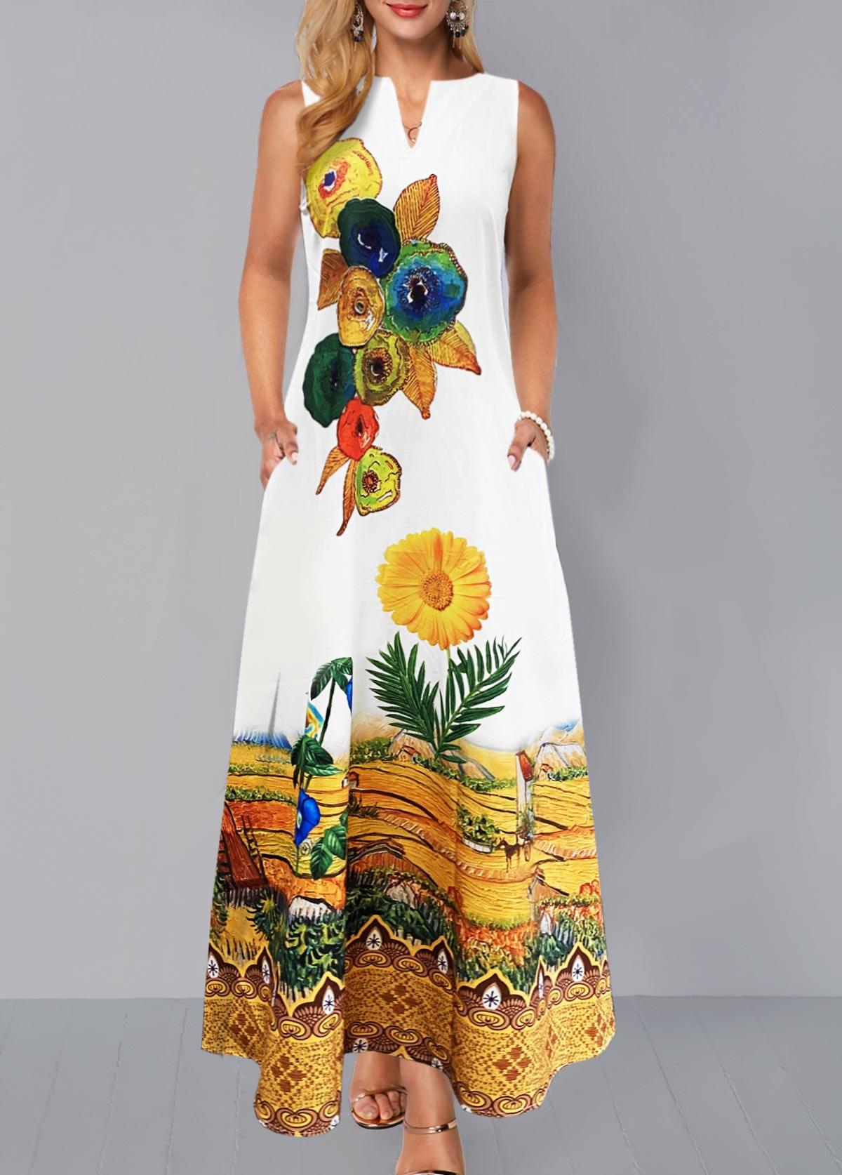 Split Neck Floral Print Sleeveless Dress