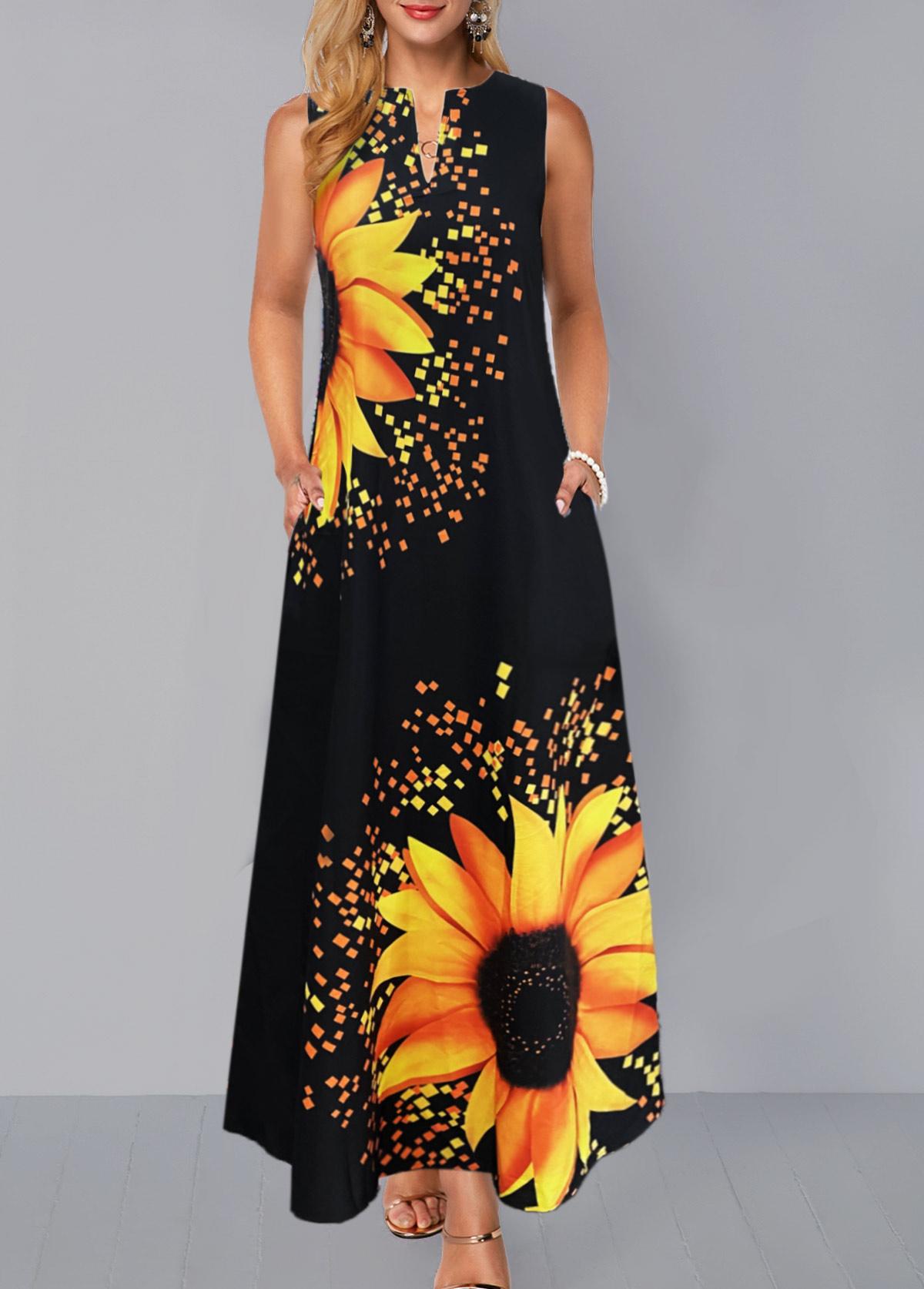 Split Neck Sunflower Print Sleeveless Dress