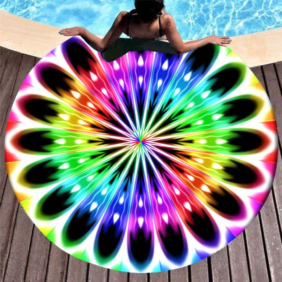 Rainbow Color Printed Circular Design Beach Blanket