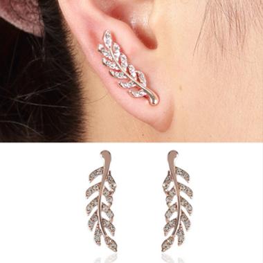 Feathers Shape Rhinestone Pink Earrings