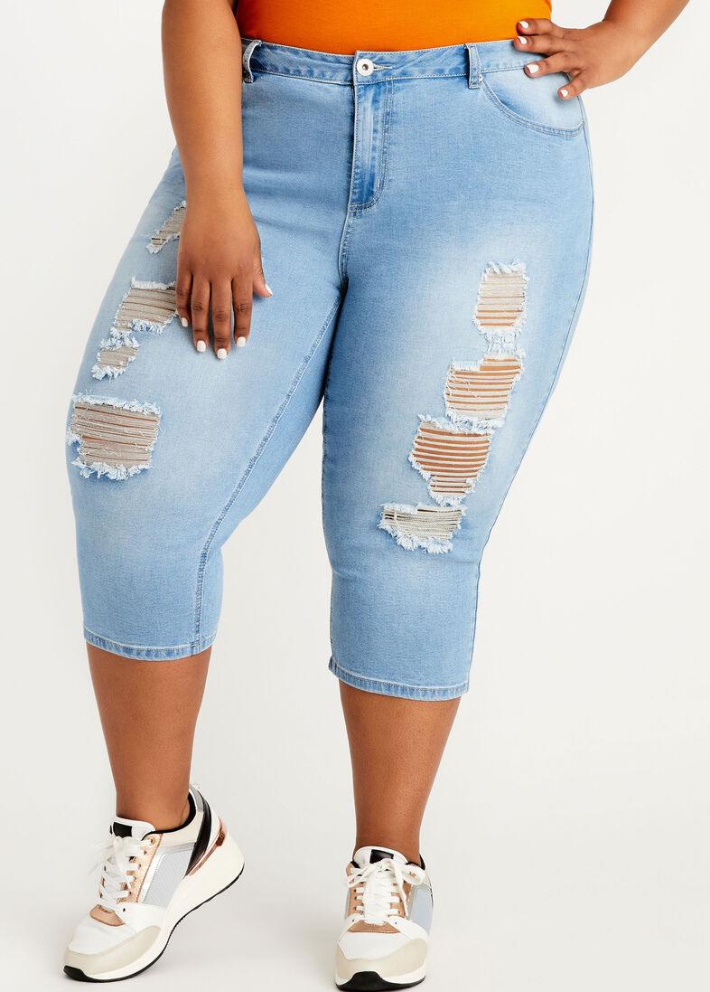 Plus Size Denim Blue Shredded Pants