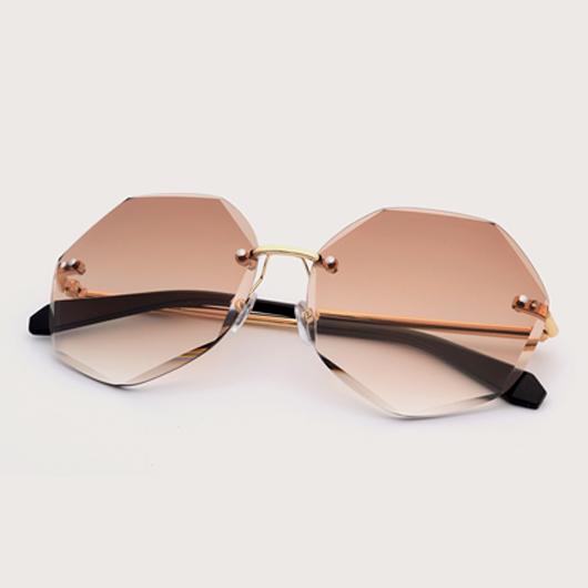 Rimless Design Metal Detail Khaki Sunglasses