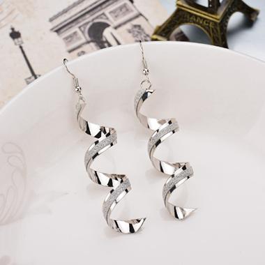 Spiral Design Silver Crystal Detail Earring Set