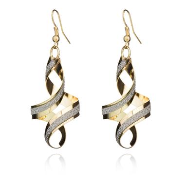 Spiral Design Gold Crystal Detail Earring Set