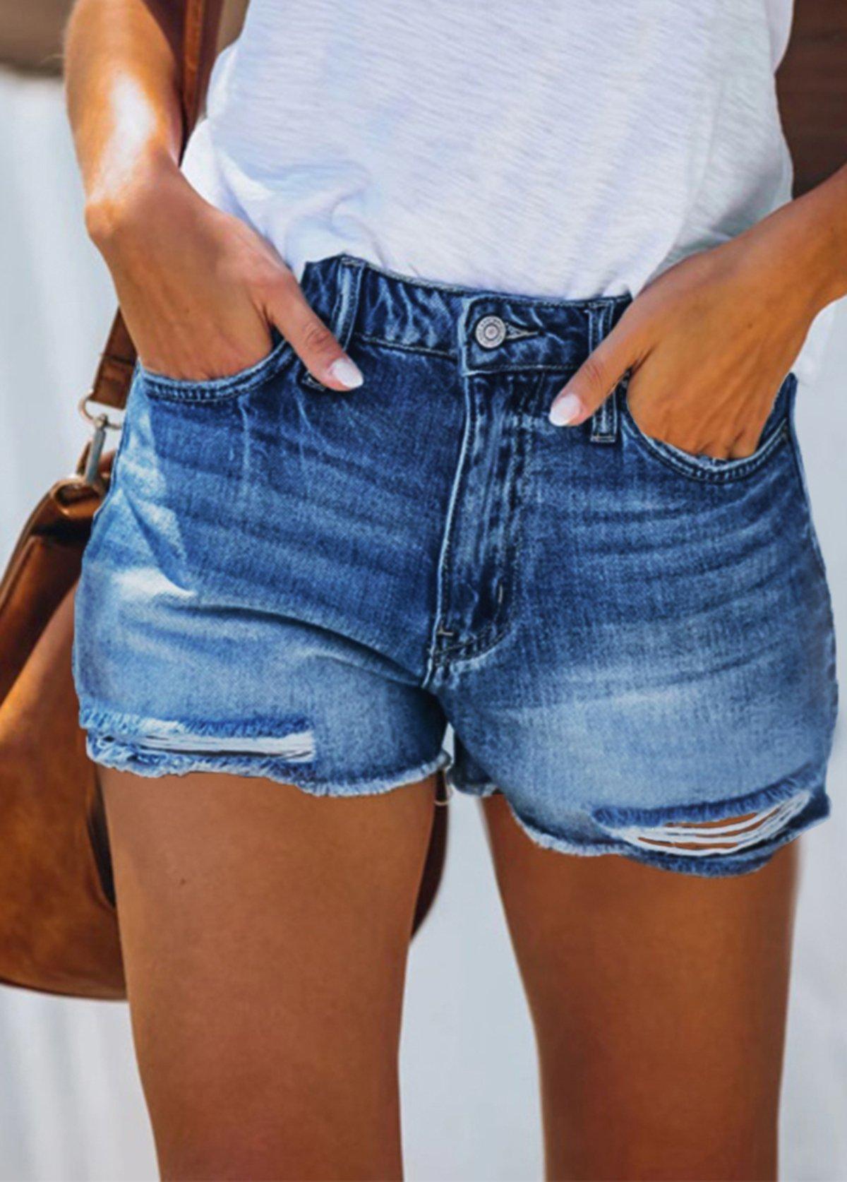 High Waisted Shredded Double Pocket Shorts
