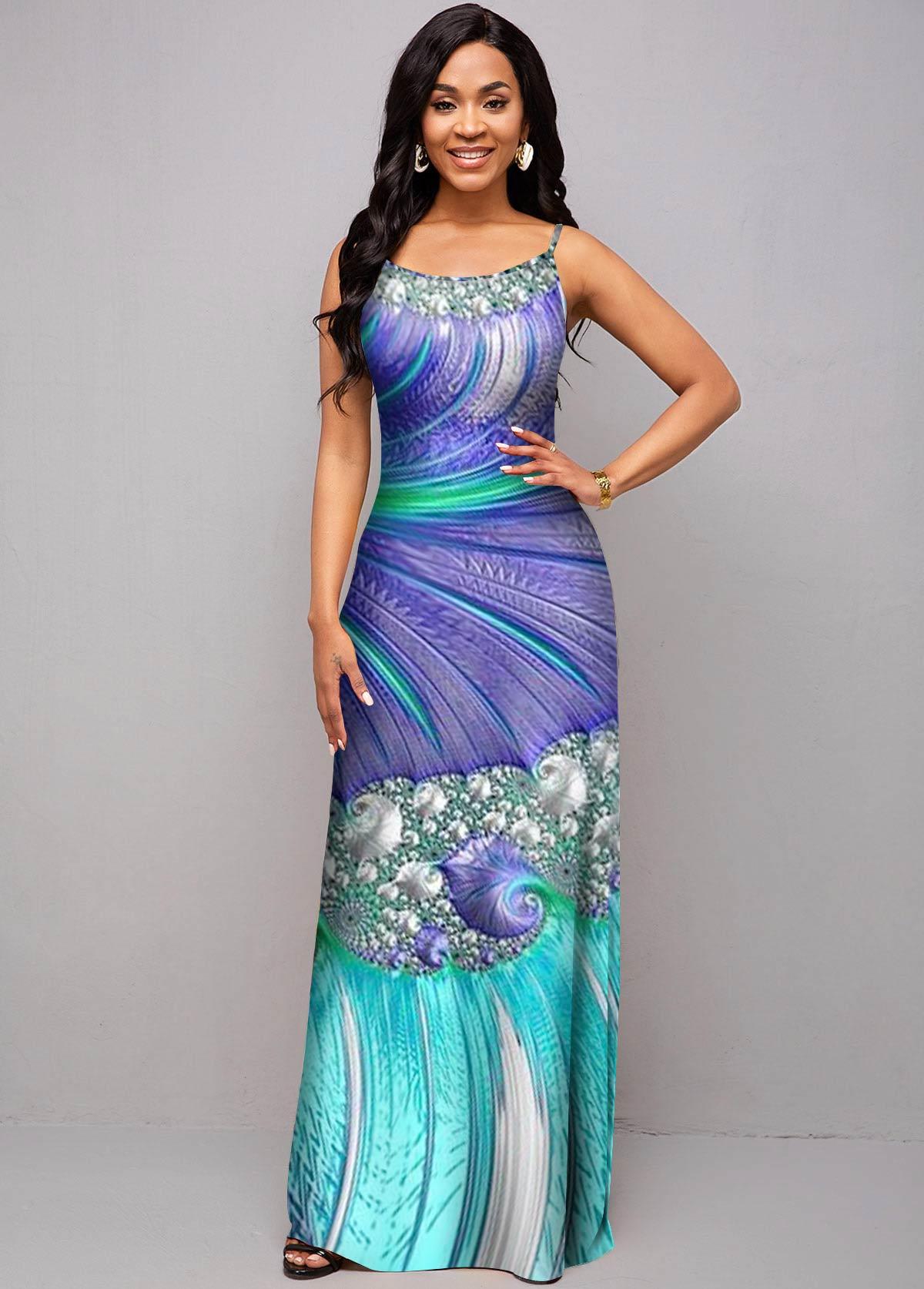 Sea Print Spaghetti Strap Maxi Dress