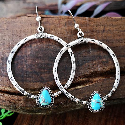 Turquoise Detail Circle Design Metal Earring Set