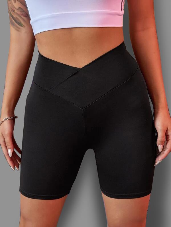 Black Skinny Cross Front Sports Bottom