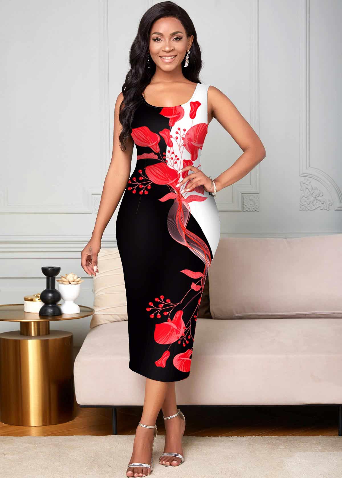 Floral Print Contrast Sleeveless Bodycon Dress