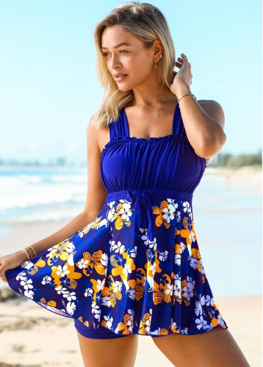 Modlily Floral Print Wide Strap Tie Front Swimdress and Shorts - XXL