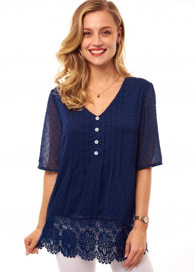 Modlily Lace Stitching Button Detail Crinkle Chest T Shirt - L