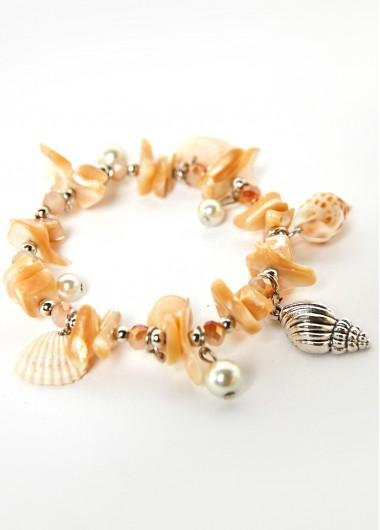 Conch Detail Pearl Design Beige Anklet