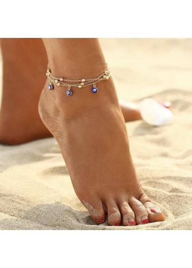 Eye Design Gold Metal Detail Anklet