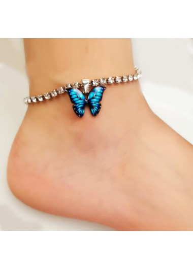 Butterfly Detail Rhinestone Design Silver Anklet