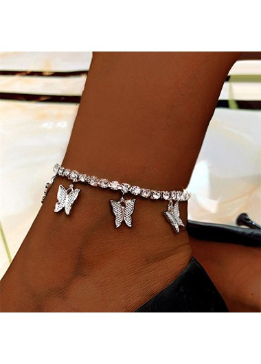Silver Butterfly Design Rhinestone Detail Anklet